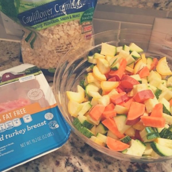 Paleo recipe, ground turkey with chopped vegetables and sweet potato stir fry