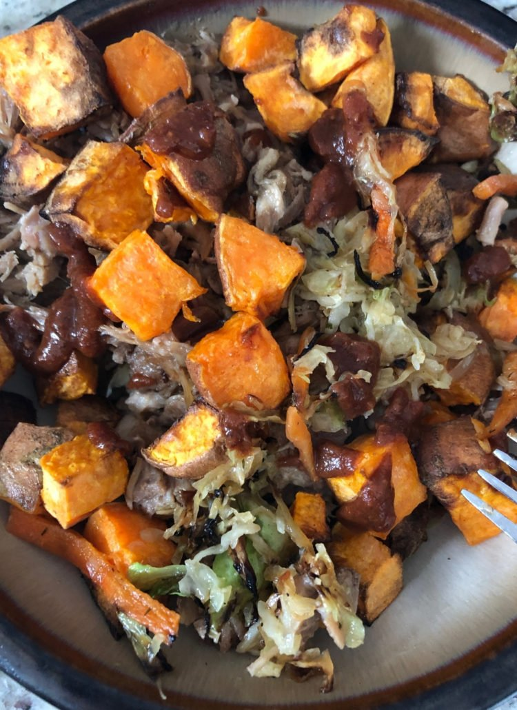 paleo, whole30 compliant barbecue pulled pork cole slaw with sweet potatoes