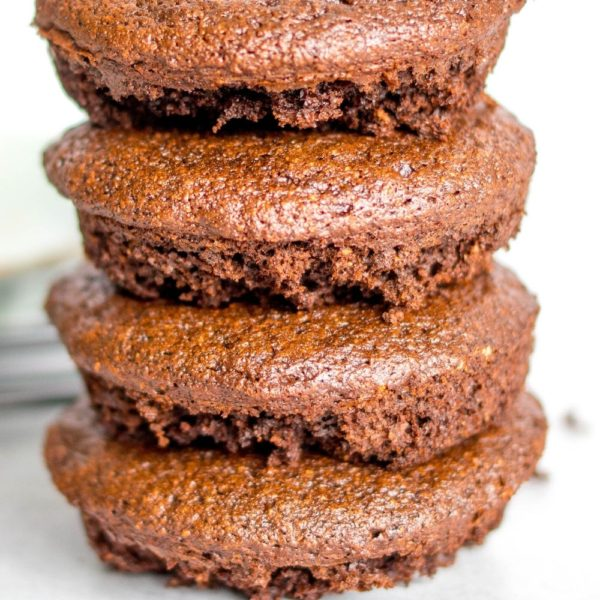 a stack of chocolate gluten free donuts