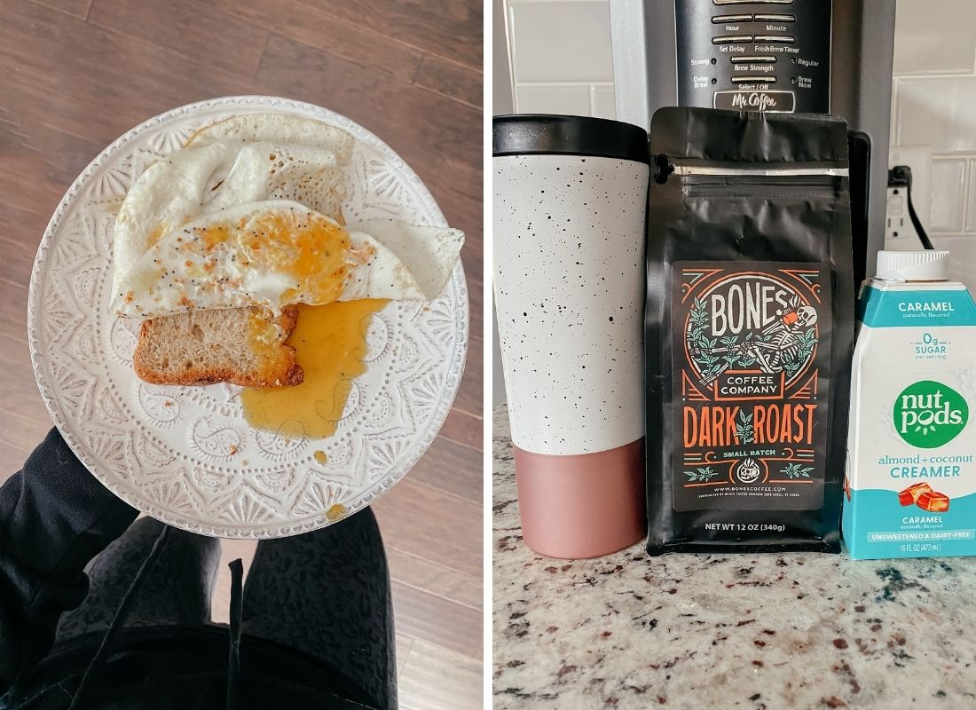two over easy eggs on top of gluten free toast, coffee, bones coffee, and nut pods creamer