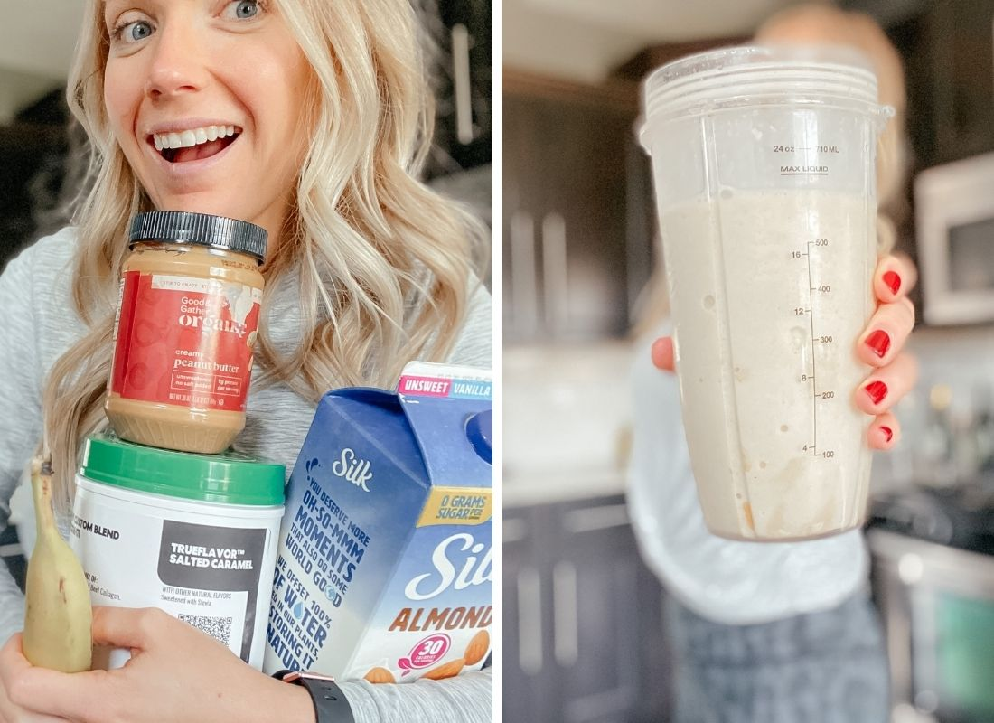 a blonde girl holding peanut butter, protein powder, banana, and almond milk to make a smoothie